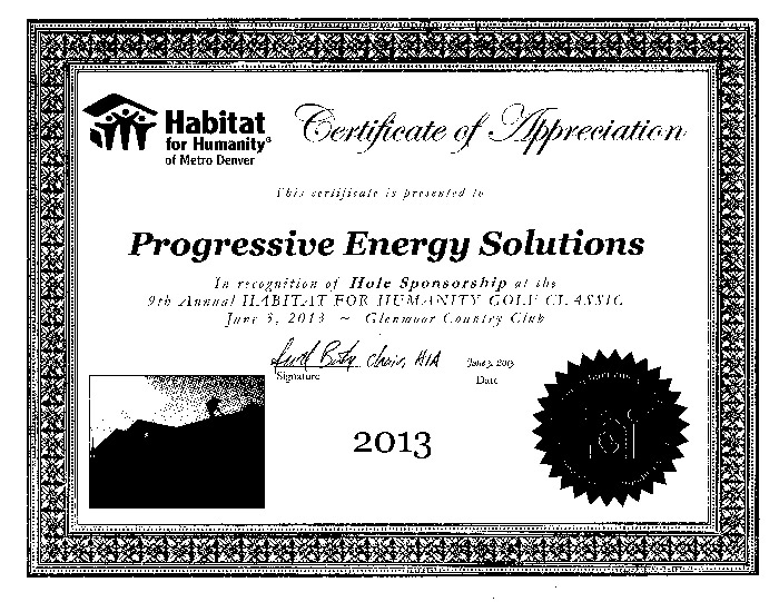 denver lighting company - habitat for humanity award